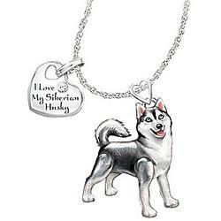 Siberian Husky Playful Pup Diamond Pendant Necklace