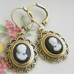 Antiqued Brass Cameo Earrings