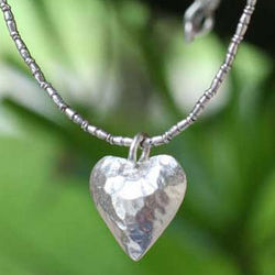 Heartbeat Hammered Sterling Silver Necklace