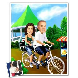 Tandem Bike Ride Caricature Prin from Photos