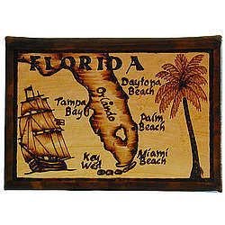 Florida Map Leather Photo Album in Natural
