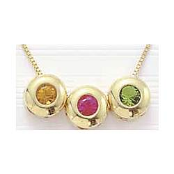 14k Yellow Gold Mother's Birthstone Necklace