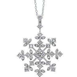 Sterling Silver CZ Snowflake Pendant Necklace