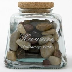 Engraved Recycled Glass Pyramid Shaped Keepsake Bottle