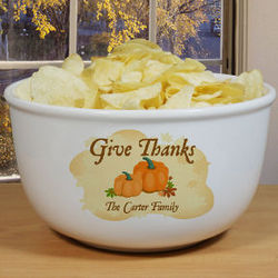 Personalized Thanksgiving Ceramic Bowl