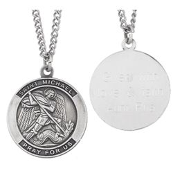 Sterling Silver Engraved St. Michael Medal Pendant