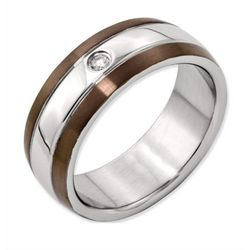 Men's Chocolate Stainless Steel and Diamond Wedding Band