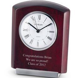 Mahogany Clock with Silver Base