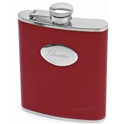 Engravable Crimson Leather Hip Flask
