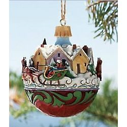 Musical Village Sleigh Ball Ornament