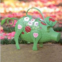 Folk Art Farm Animal Iron Watering Can