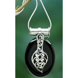 Goddess of the Night Onyx Pendant Necklace