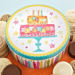 Sugar Free Birthday Cookies in Musical Birthday Cake Tin
