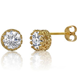 Crown Set 14K Gold Over Silver Vermeil Solitaire Stud Earrings