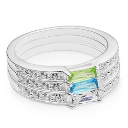 Sterling Silver Birthstone Stack Ring