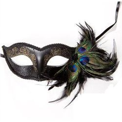 Black Venetian Half Face Feather Mask