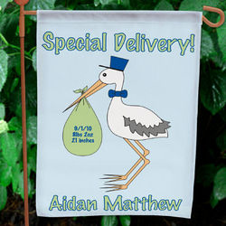Special Delivery Baby Boy Announcement Garden Flag