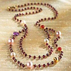 Jaipur Pearl and Garnet Necklace