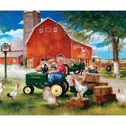 John Deere Country Stretched Canvas Print