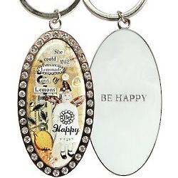 Be Happy Collage Key Ring