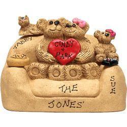 Personalized Bear Family with 1-5 Kids on a Loveseat