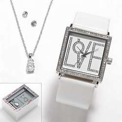 Silver Tone Simulated Crystal Love Bangle Watch and Jewelry Set