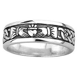 Men's Silver Celtic Knot and Claddagh Ring