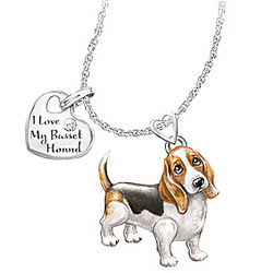 Basset Hound Playful Pup Diamond Necklace