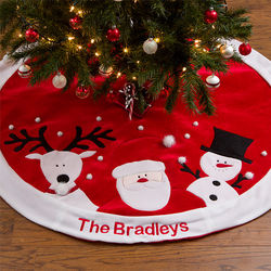 Santa, Reindeer and Snowman Personalized Christmas Tree Skirt