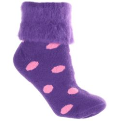Polka Dots Sheepskin Bed Socks