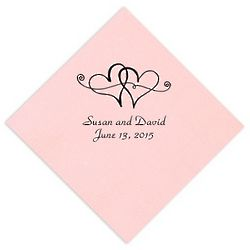Personalized Twin Hearts Wedding Napkins