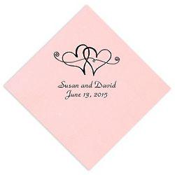 Personalized Twin Hearts Wedding Napkins