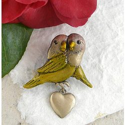 Brass Lovebirds Brooch