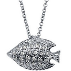 Sterling Silver CZ Accent Fish Pendant Necklace