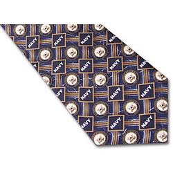 Navy Logo Silk Tie