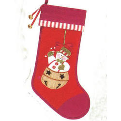 Quilted Snowman Red Christmas Stocking