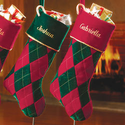 Personalized Velvet Argyle Stocking