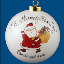 Personalized Hand Painted Porcelain Christmas Ball Ornament