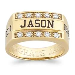 Personalized Yellow Celebrium Striking CZ Class Ring