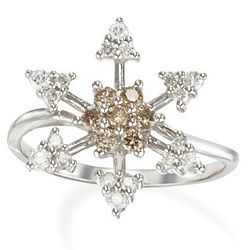 White and Champagne Diamond Flower Ring