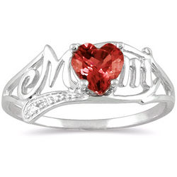 10K White Gold Garnet Heart Mom Ring with Diamonds