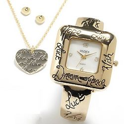 Gold Tone Mother-Of-Pearl Bangle Watch, Heart Pendant, & Earrings