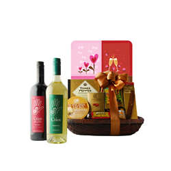 Delectable Duet Wine Gift Basket for Valentine's Day