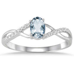 10K White Gold Aquamarine and Diamond Twist Ring