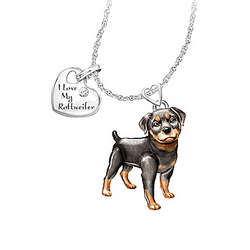 Rottweiler Playful Pup Diamond Pendant Necklace