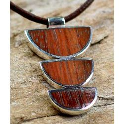 Men's Earth Connections Leather and Mango Wood Necklace