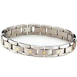 Mens Titanium Bracelet with 18k Gold Elements