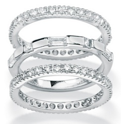 Platinum Over Sterling Silver DiamonUltra CZ Eternity Bands