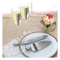 50th Wedding Anniversary Flutes and Cake Server Set