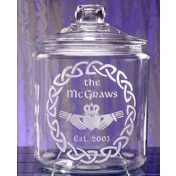 Personalized Irish Claddagh Theme Glass Cookie Jar